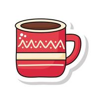 merry christmas cup sticker icon vector