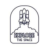 insignia espacial con nave espacial volando y explorar el estilo de línea de letras espaciales