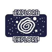 insignia espacial con estilo de línea de agujero negro