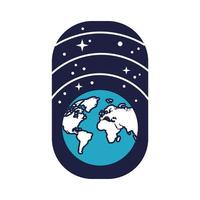 space badge with earth planet and stars line and fill style