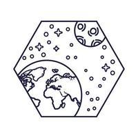 Insignia espacial con estilo de línea de planeta tierra y luna.