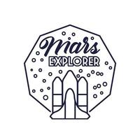 Insignia espacial con nave espacial volando y estilo de línea de letras Mars Explorer