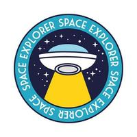 space badge with ufo flying and space explorer lettering line and fill style