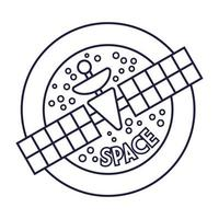 insignia circular espacial con estilo de línea satelital vector