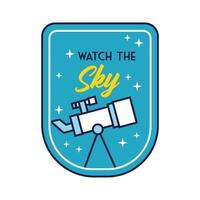 space badge with telescope and watch the stars line and fill style