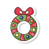 merry christmas wreath crown sticker icon vector