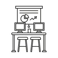 coworking workplace with statistics and desktops line style icon