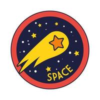 insignia espacial con línea de estrella fugaz y estilo de relleno