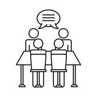 cuatro trabajadores hablando en el icono de estilo de línea de mesa
