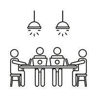 cuatro trabajadores en la mesa con el icono de estilo de línea de computadoras portátiles