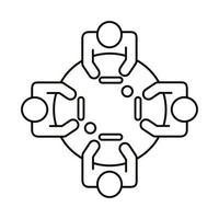 cuatro trabajadores en el icono de estilo de línea de mesa redonda