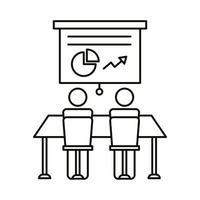 avatar pareja coworking con cartón y estadísticas icono de estilo de línea
