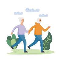 pareja senior activa corriendo en el campo personajes