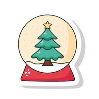 merry christmas pine tree in snowy sphere sticker icon