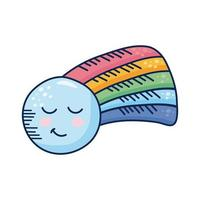 kawaii rainbow with moon comic character