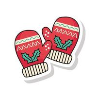 merry christmas gloves sticker icon vector