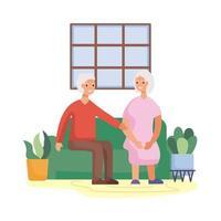 pareja senior activa en la sala de estar