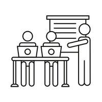 tres trabajadores con laptops en el icono de estilo de línea de oficina