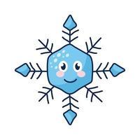 personaje cómico de copo de nieve kawaii