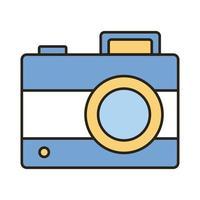icono de estilo de relleno y línea fotográfica de cámara vector