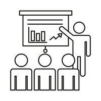 cuatro trabajadores entrenando con icono de estilo de línea de estadísticas