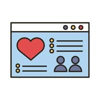 webpage template with heart line and fill style icon