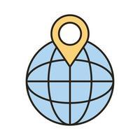 navegador de esfera con línea de ubicación de pin e ícono de estilo de relleno