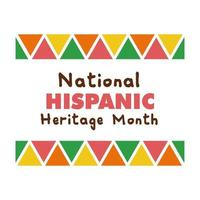 letras de la herencia nacional hispana en el icono de estilo plano de marco