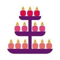velas de diwali en icono de estilo plano de estantería