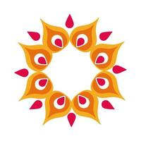 diwali flower petals decoration flat style icon vector