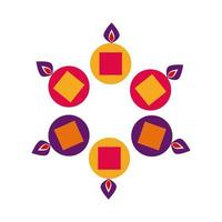 velas de diwali en calderos alrededor del icono de estilo plano