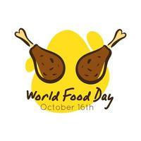Letras de celebración del día mundial de la comida con muslos de pollo estilo plano
