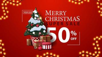 Christmas super sale, up to 50 off, red modern discount banner with beautiful typography, garland and Christmas tree in a pot with gifts