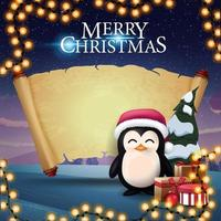 Merry Christmas, greeting postcard with penguin in Santa Claus hat with presents, old parchment for your text and beautiful winter landscape on the background