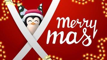 Feliz Navidad, postal roja con guirnalda, líneas blancas diagonales y pingüino con sombrero de santa claus detrás