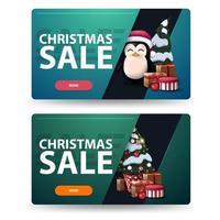 dos pancartas navideñas de descuento con árbol de navidad en una olla con regalos y pingüino con sombrero de santa claus con regalos. Banners horizontales verdes y azules aislados sobre fondo blanco