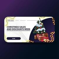 Christmas sales and discount week, white modern Christmas discount banners with rounded corners, garland and Christmas tree in a pot with gifts