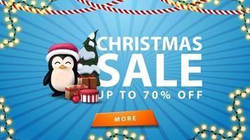 Christmas sale, up to 70 off, blue banner with garland, orange button and penguin in Santa Claus hat with presents