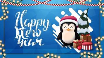 Happy New Year, blue greeting card with abstract liquid shape, garland and penguin in Santa Claus hat with presents