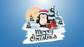 Merry Christmas, blue postcard with big full moon, pines forest, mountain and penguin in Santa Claus hat with presents