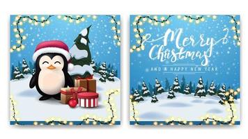 Christmas square two-sided postcard with cartoon winter landscape and penguin in Santa Claus hat with presents vector