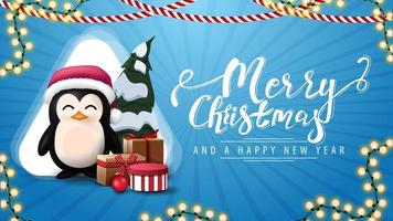 Merry Christmas and happy New Year, blue postcard with garlands, white big triangle and penguin in Santa Claus hat with presents