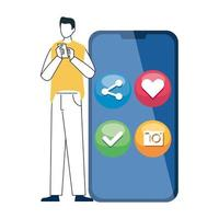 Hombre y teléfono inteligente con iconos de redes sociales, concepto de comunicación en línea sobre fondo blanco.