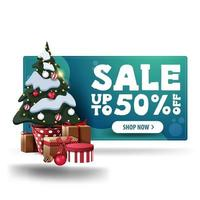 Christmas green discount 3D banner, up to 50 off, with white button and Christmas tree in a pot with gifts