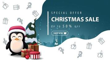 Special offer, Christmas sale, up to 50 off, beautiful white and blue discount banner with penguin in Santa Claus hat with presents and Christmas line icons, space imagination vector
