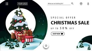 Special offer, Christmas sale, up to 50 off, beautiful discount banner foe website with winter landscape and Christmas tree in a pot with gifts vector