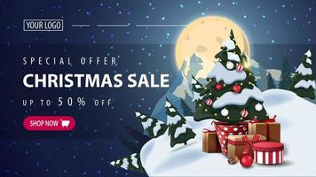 Special offer, Christmas sale, up to 50 off, horizontal discount web banner with starry night, full moon, silhouette of the planet and Christmas tree in a pot with gifts