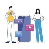 Pareja y smartphone con iconos de redes sociales, concepto de comunicación online sobre fondo blanco.