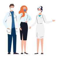 workers using face mask during covid 19 on white background vector