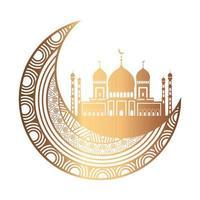 eid celebration ornament on white background, moon hanging vector